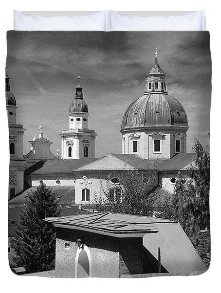 Salzburg Black And White Austria Europe Duvet Cover by Sabine Jacobs