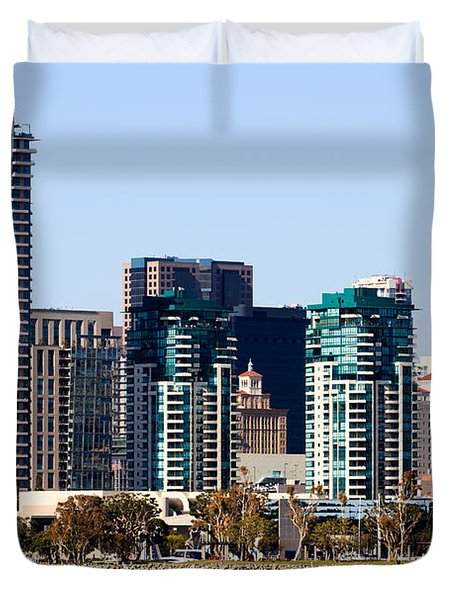 San Diego California Skyline Duvet Cover by Paul Velgos