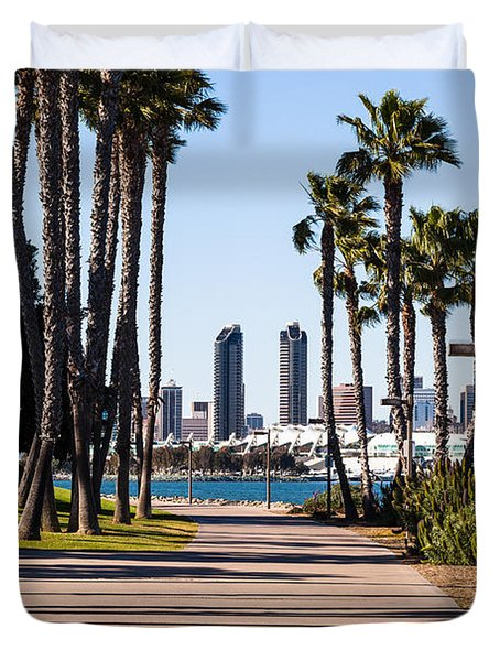 San Diego Skyline With Coronado Island Bayshore Bikeway Duvet Cover by Paul Velgos