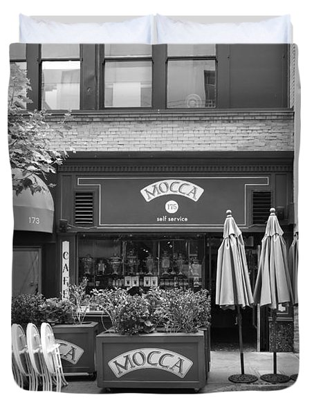 San Francisco - Maiden Lane - Mocca Cafe - 5d17788 - Black And White Duvet Cover by Wingsdomain Art and Photography