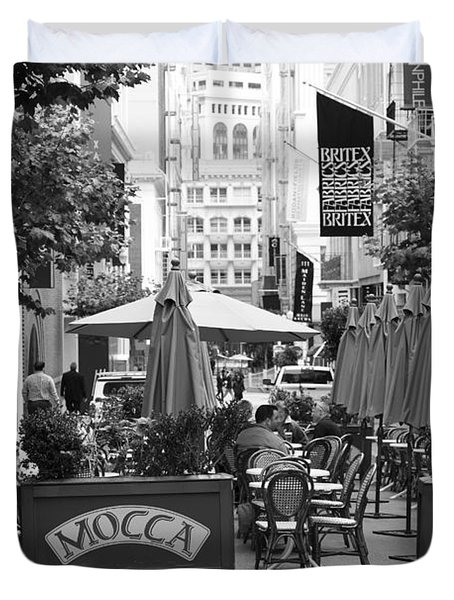 San Francisco - Maiden Lane - Outdoor Lunch at Mocca Cafe - 5D17932 - black and white Duvet Cover by Wingsdomain Art and Photography