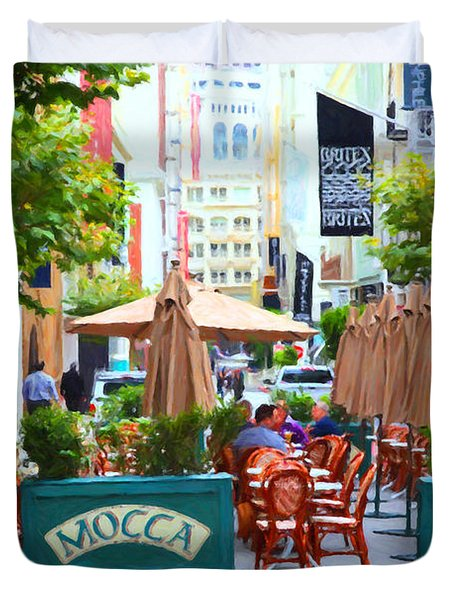 San Francisco - Maiden Lane - Outdoor Lunch at Mocca Cafe - 5D17932 - Painterly Duvet Cover by Wingsdomain Art and Photography