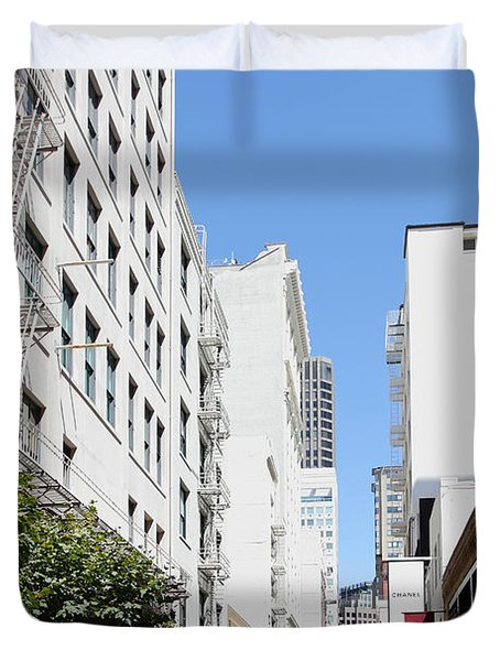 San Francisco - Maiden Lane - Outdoor Lunch At Mocca Cafe - 5d18011 Duvet Cover by Wingsdomain Art and Photography