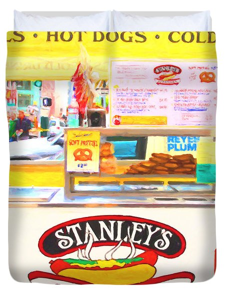 San Francisco - Stanley's Steamers Hot Dog Stand - 5D17929 - Square - Painterly Duvet Cover by Wingsdomain Art and Photography