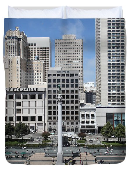 San Francisco - Union Square - 5D17938 Duvet Cover by Wingsdomain Art and Photography
