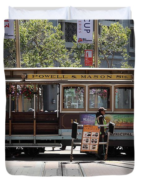 San Francisco Cable Car At The Powell Street Cable Car Turnaround - 5d17968 Duvet Cover by Wingsdomain Art and Photography