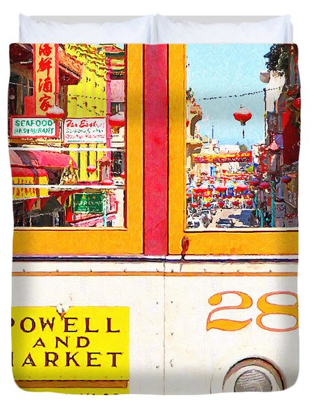 San Francisco Cablecar 28 . Chinatown Duvet Cover by Wingsdomain Art and Photography