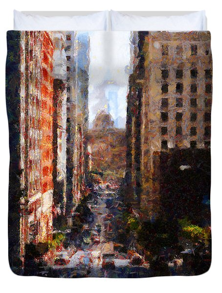 San Francisco California Street  . Painterly . 7d7186 Duvet Cover by Wingsdomain Art and Photography