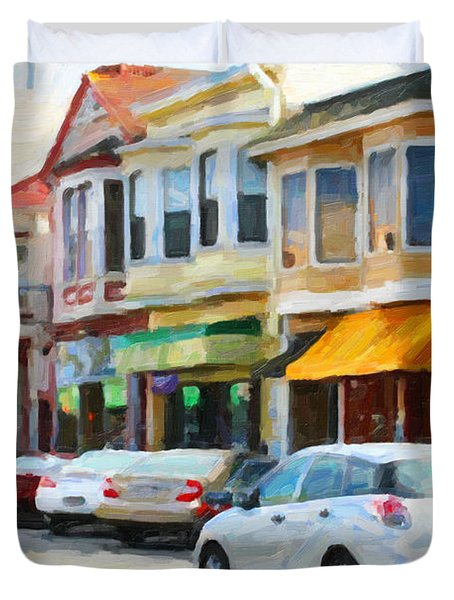 San Francisco Clement Street 2 Duvet Cover by Wingsdomain Art and Photography