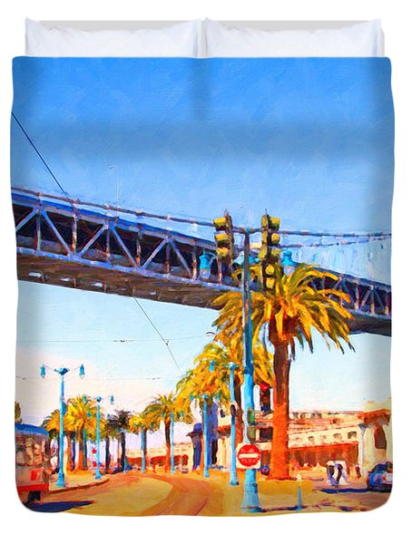 San Francisco Embarcadero And The Bay Bridge Duvet Cover by Wingsdomain Art and Photography