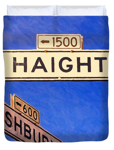 San Francisco Haight Ashbury Duvet Cover by Wingsdomain Art and Photography