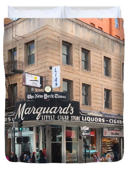 San Francisco Marquards Little Cigar Store on Powell Street - 5D17950 - Painterly Duvet Cover by Wingsdomain Art and Photography
