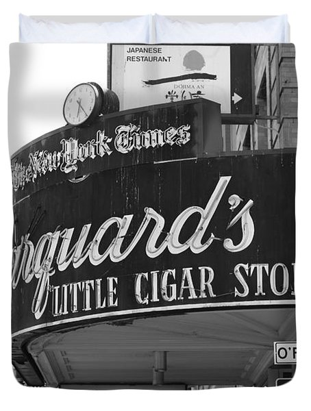 San Francisco Marquard's Little Cigar Store Powell and O'Farrell Streets - 5D17954 - black and white Duvet Cover by Wingsdomain Art and Photography