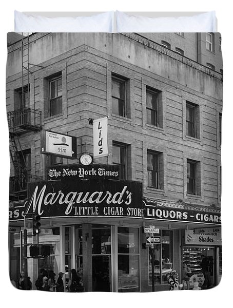 San Francisco Marquards Little Cigar Store Powell Street - 5D17950 - black and white Duvet Cover by Wingsdomain Art and Photography