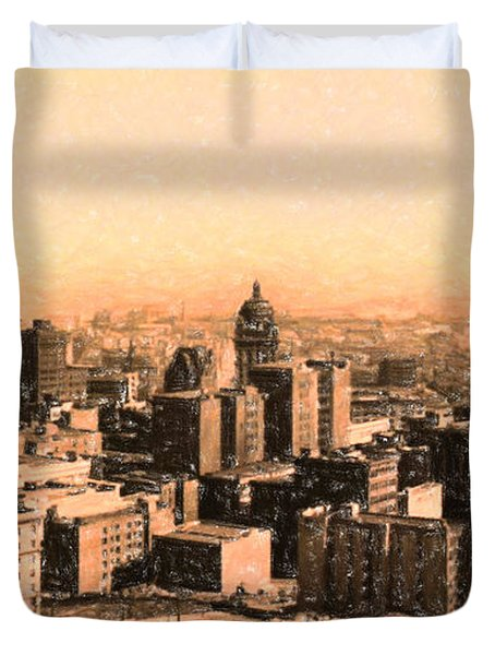 San Francisco Skyline 1909 showing South of Market Street Duvet Cover by Wingsdomain Art and Photography