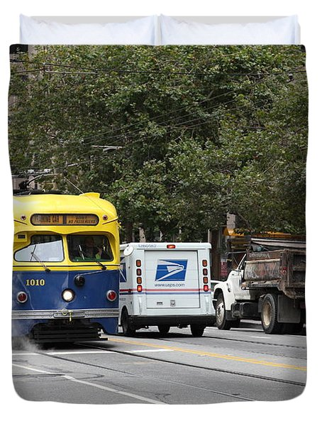 San Francisco Vintage Streetcar On Market Street - 5d17849 Duvet Cover by Wingsdomain Art and Photography