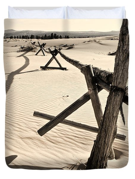 Sand and Fences Duvet Cover by Heather Applegate