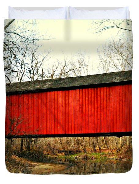 Sandy Creek Bridge In Winter Duvet Cover by Marty Koch