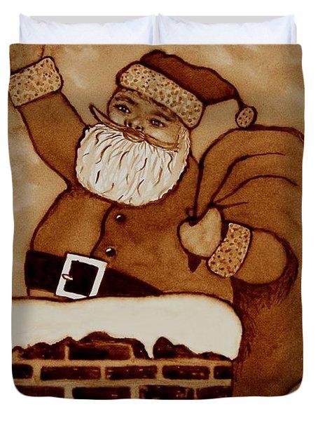 Santa Claus Is Coming Duvet Cover by Georgeta  Blanaru