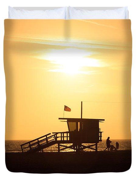 Santa Monica California Sunset Photo Duvet Cover by Paul Velgos