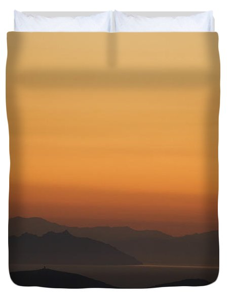 Santo Stefano Coastline At Sunset Duvet Cover by Axiom Photographic