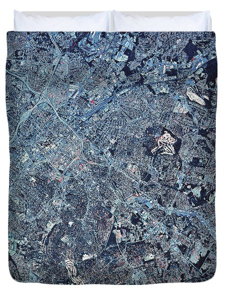 Satellite View Of Charlotte, North Duvet Cover by Stocktrek Images
