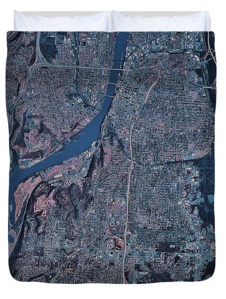 Satellite View Of Little Rock, Arkansas Duvet Cover by Stocktrek Images