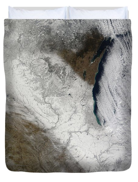 Satellite View Of Snow And Cold Duvet Cover by Stocktrek Images