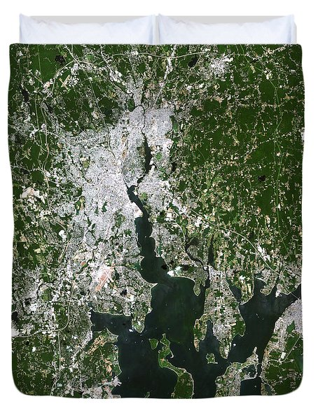 Satellite View Of The Pawtucket Duvet Cover by Stocktrek Images