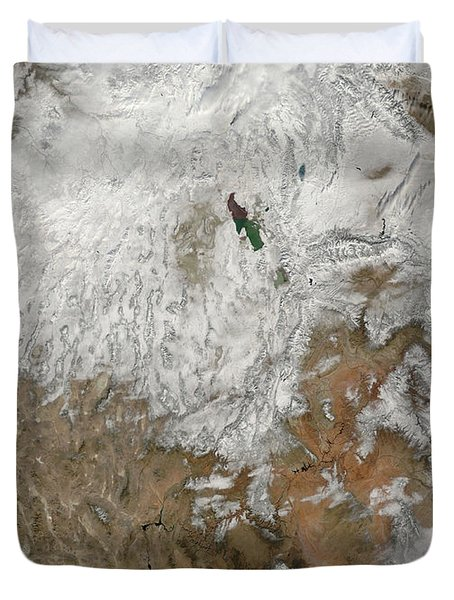 Satellite View Of The Western United Duvet Cover by Stocktrek Images