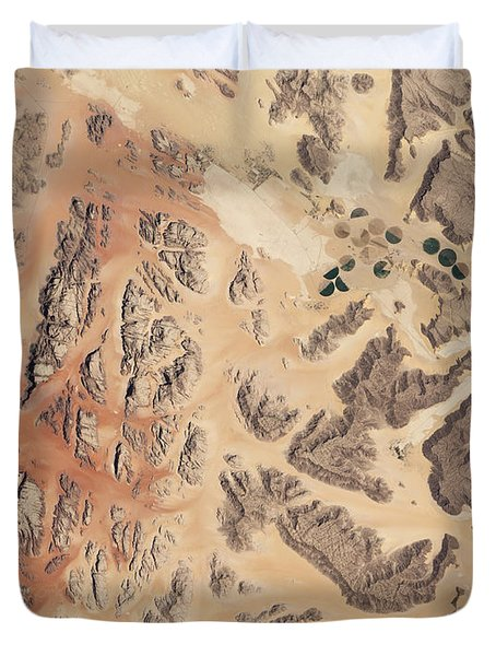 Satellite View Of Wadi Rum Duvet Cover by Stocktrek Images