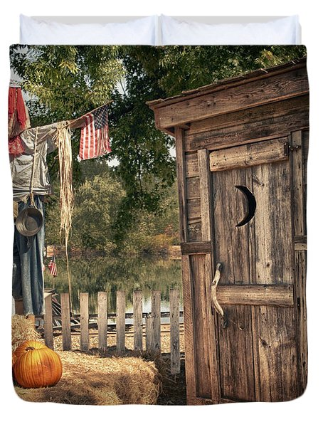 Scared Outhouse Duvet Cover by Vincent Cascio