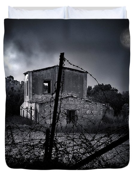 Scary House Duvet Cover by Stylianos Kleanthous