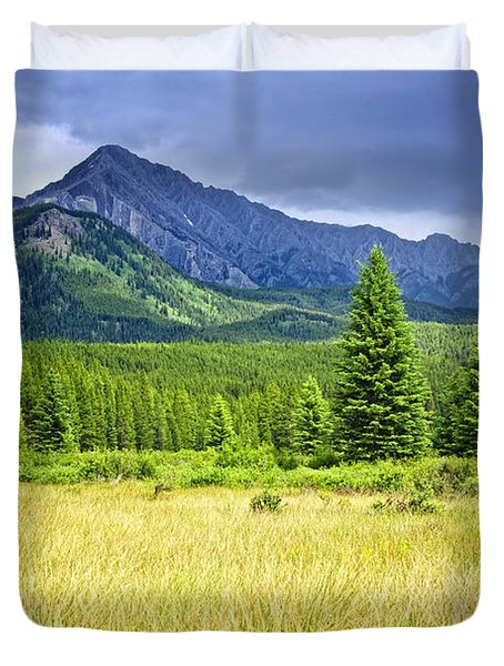 Scenic view in Canadian Rockies Duvet Cover by Elena Elisseeva