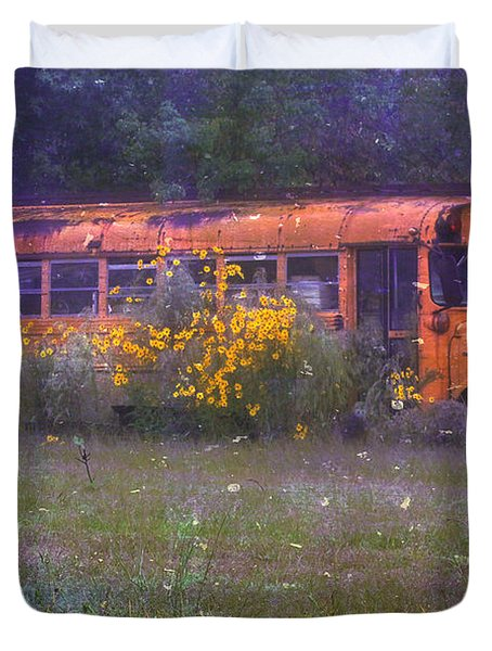 School Bus Out to Pasture Duvet Cover by Judi Bagwell