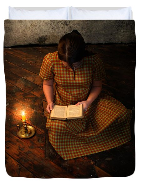 Schoolgirl Sitting On Wood Floor Reading By Candlelight Duvet Cover by Jill Battaglia