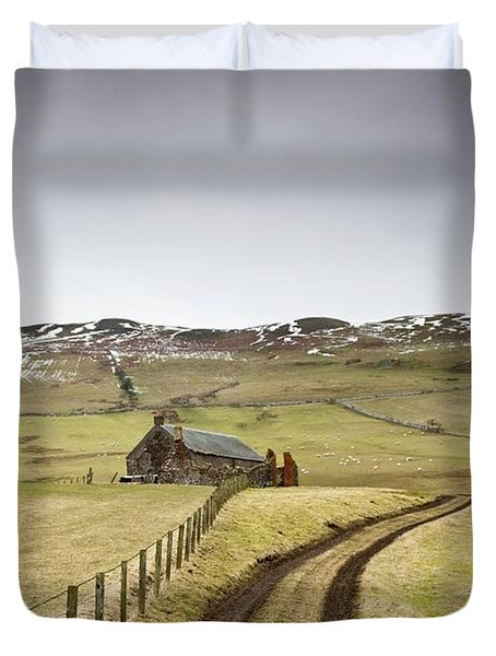 Scottish Borders, Scotland Tire Tracks Duvet Cover by John Short