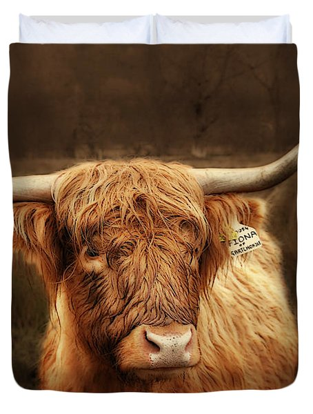 Scottish Moo Coo - Scottish Highland cattle Duvet Cover by Christine Till