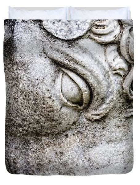 Sculpture Of Bull, Temples Of Apollo Duvet Cover by Carson Ganci
