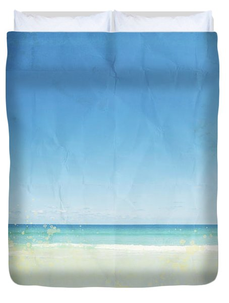 Sea And Sky On Old Paper Duvet Cover by Setsiri Silapasuwanchai