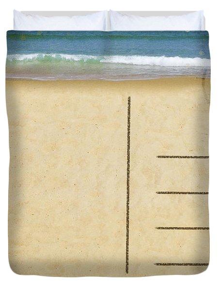 sea beach on postcard  Duvet Cover by Setsiri Silapasuwanchai
