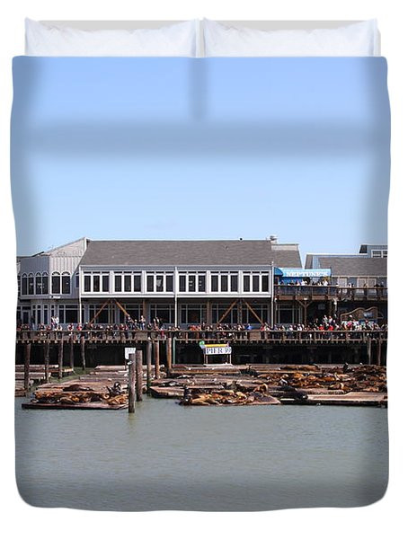 Sea Lions At Pier 39 San Francisco California . 7d14273 Duvet Cover by Wingsdomain Art and Photography