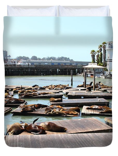 Sea Lions At Pier 39 San Francisco California . 7d14309 Duvet Cover by Wingsdomain Art and Photography