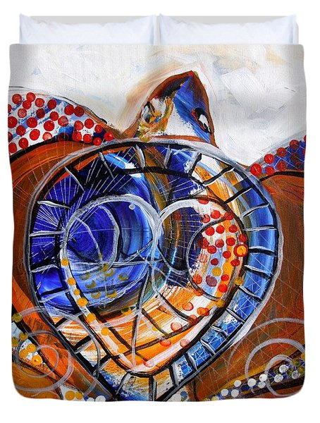 Sea Turtle Love - Orange And White Duvet Cover by J Vincent Scarpace