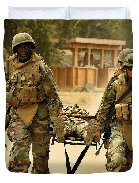 Seabees Conduct A Mass Casualty Drill Duvet Cover by Stocktrek Images