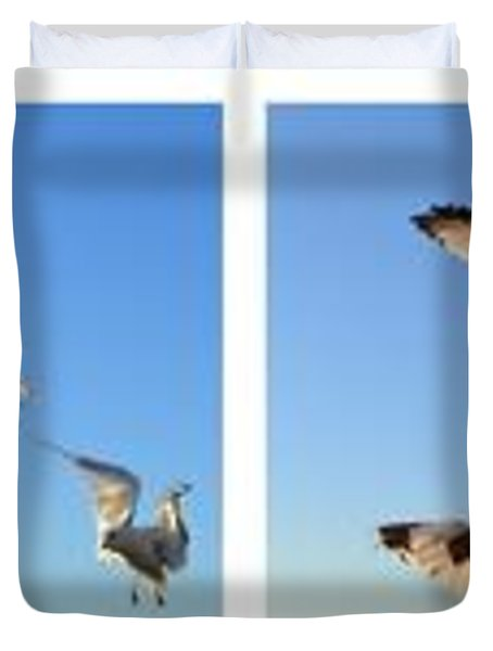 Seagull Collage Duvet Cover by Michelle Calkins