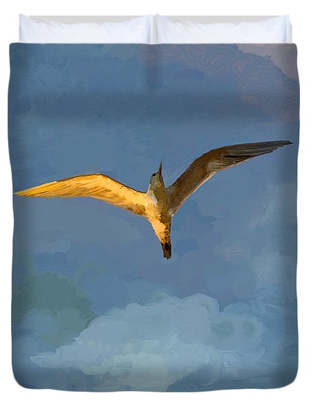 Seagull Sunrise Duvet Cover by Miguel Pumarejo