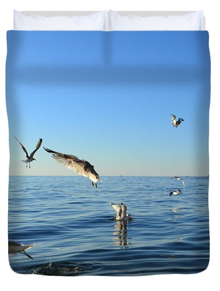 Seagulls Over Lake Michigan Duvet Cover by Michelle Calkins