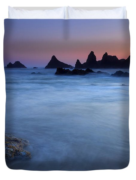 Seal Rock Dusk Duvet Cover by Mike  Dawson