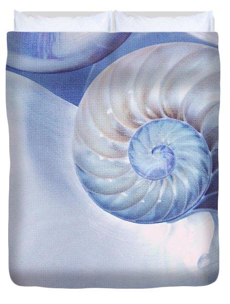 Seashell. Blue Version  Duvet Cover by Jenny Rainbow